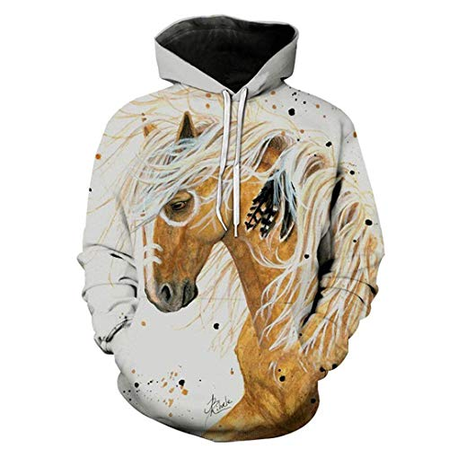 navely Men Women Casual Horse Paint Cool 3D Print Full Long Sleeve Loose Streetwear Autumn Winter Outdoor Sport Outwear Tops 3X