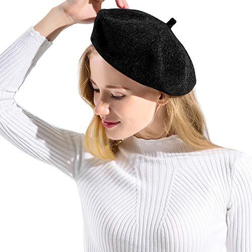 JANGANNSA Women Winter Warm Beret Hat Lady Ski Chenille Fabric Beanie Cap Female Headwear Accessory (Black)