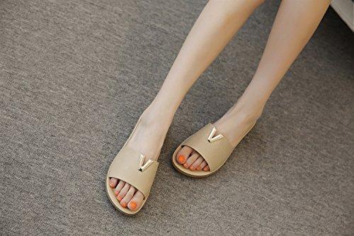 Xiaoqi Playa Botones Metal Sandalias Moda Bohemia Zapatillas Pantalones Beige Verano Tamaño De Zapatos Pies Confort Gran Mujer n8Cqx8v0wZ