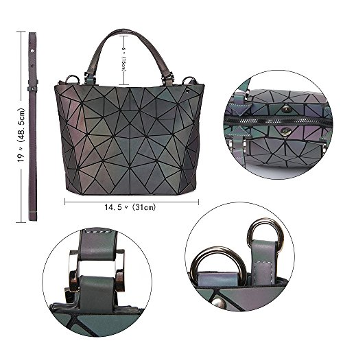 Multicolor Large Tote and Bag Rinhoo for Luminous Top Luminous Purse Handle Purse Geometric Holographic Bag Women Handbag Bags 6q80A