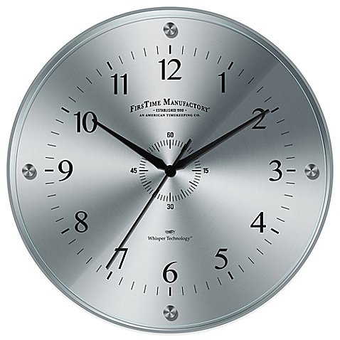 (FirsTime Steel Whisper Wall Clock With Raised Tempered Glass Lens)