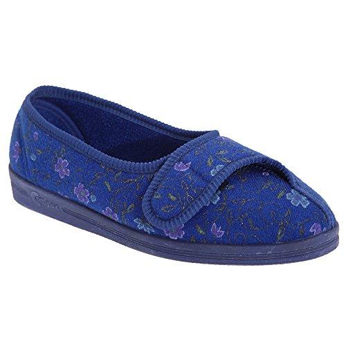 Comfylux Diana Damen Hausschuhe mit Klettverschluss, Blumenmuster Blau