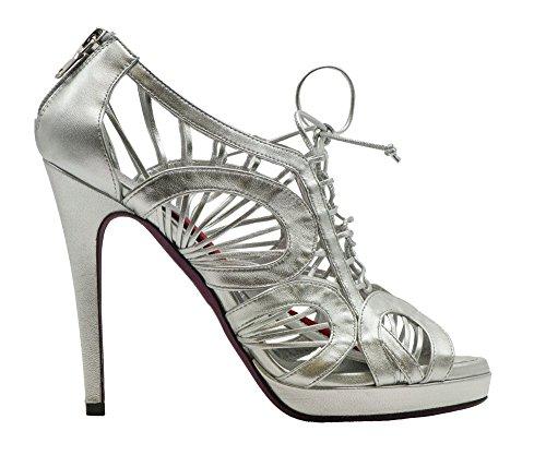 AMANDA GREGORY Back Zippered Platform Sandal Silver 0G7dp4T