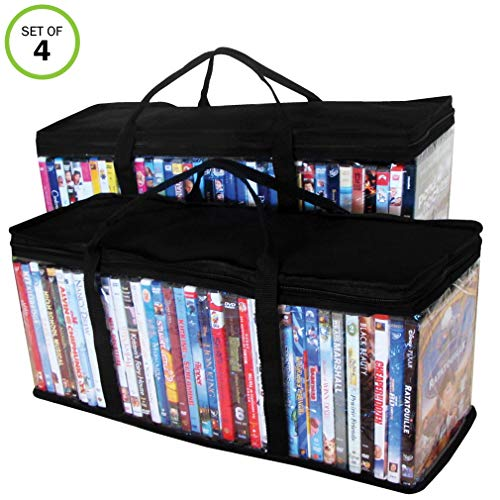 Evelots DVD-Blu Ray-Video-Storage Bag-Clear-Handle-Hold 80 Total-Black Top-Set/4