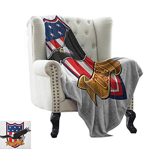 LsWOW Pattern Blanket American,Flying Eagle with USA Flag Armor Design Shape Liberty Wings in Sky Ilustration, Red Blue Black Weighted for Adults Kids, Better Deeper Sleep 50