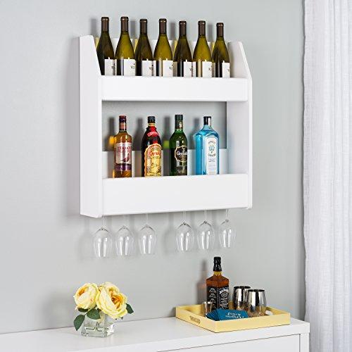 (Prepac 2-Tier Floating Wine and Liquor Rack, White, 24 Standard 750ml Bottles Spirits)