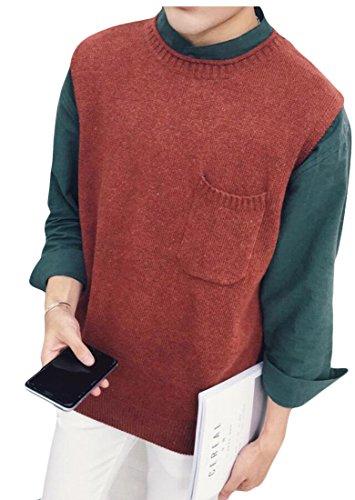Vest Wine Waistcoat Men's amp;W Knit Sweater Sleeveelss Warm amp;S Red M wOqB88