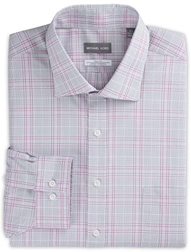Michael Kors Non-Iron Large Plaid Stretch Dress Shirt Pink