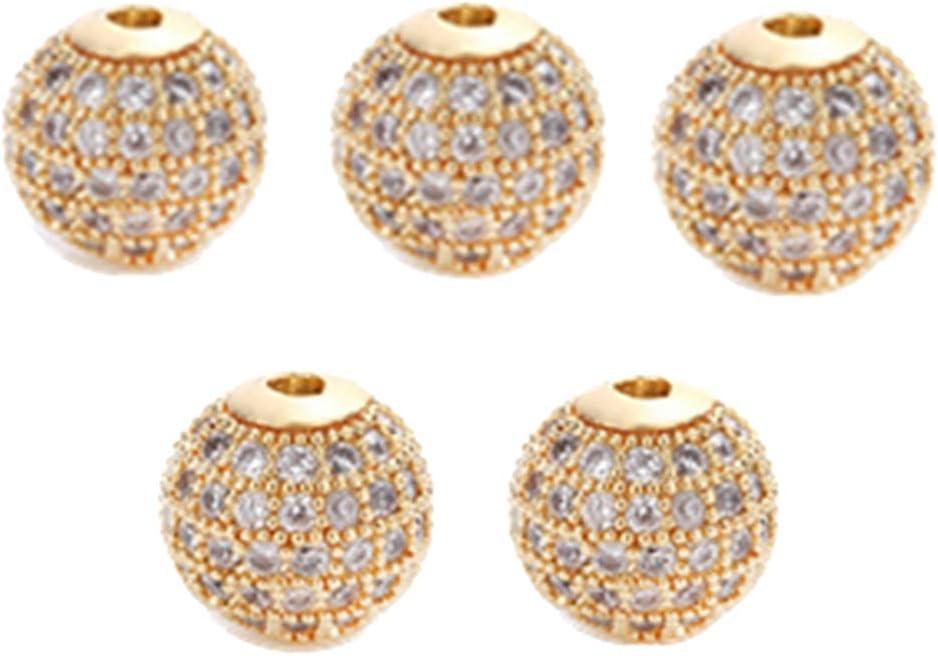 SUPVOX 5 unids Ronda Pulsera Conector Perlas Redondas de Latón Piedras Preciosas Bola de Discoteca Cúbica Espaciador de Perlas para La Joyería Que Hace 8mm