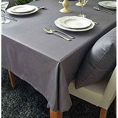 55.1 x 78.7 Inch Rectangular Cotton Washable Grey Cloth Table Cover Home Decoration Tablecloth