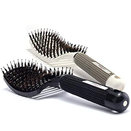 Baasha Curved Vent Brush Hair Brush Set of 2 White & Black, Detangling Hair Brush for Curly Hair, Large Boar Bristle Vent Brush For Blow Drying for Women, Curved Hair Brush Vented With Boar Bristle