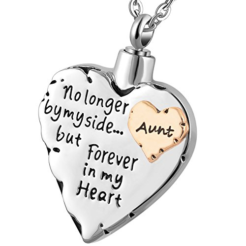 Meice Memorial Necklace for mom,dad,pet,no Longer by My Side Forever in My Heart Cremation Pendant Jewelry (Aunt)