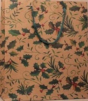 12 sacchetti natalizi, in carta naturale, motivo agrifoglio, Brown, Holly Large : H24 x W19 x D8cm gift box