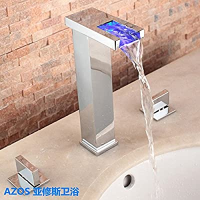 AZOS Bathroom Sink Faucets LED Light Tall Chrome Polish Waterfall Mixer Taps