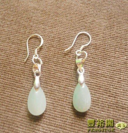 Natural jade goods jadeite jade ice kind light green jade earrings drop earrings ear hook earrings 925 sterling silver inlaid