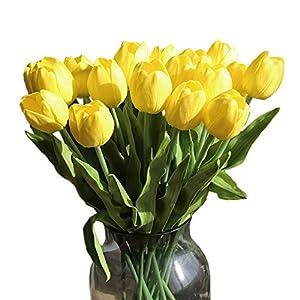 cn-Knight Artificial Flower 12pcs 20'' Long Stem Tulip Faux PU Flower Big Size Fake Tulipa for Wedding Bridal Bouquet Bridesmaid Home Décor Office Baby Shower Centerpiece Reception(Yellow) 11