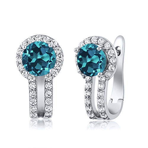 Sterling Silver London Blue Topaz & White Created Sapphire Womens Earrings (1.60 cttw, 5MM Round)