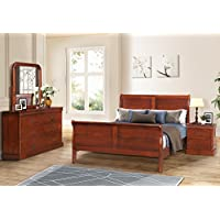 Harper&Bright Designs Bedroom Set, Queen Size Bed, Dresser, Mirror, Nightstand, Oak Finish (Bedroom Set)