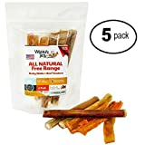 Gourmet Pizzle Sticks and Beef Tendons - No Additives, Hormones Or Bleach Added - Organic Pet Chews Work As Dental Floss So Your Dogs Will Have Great Dental Hygiene (5 - 6 Packs)