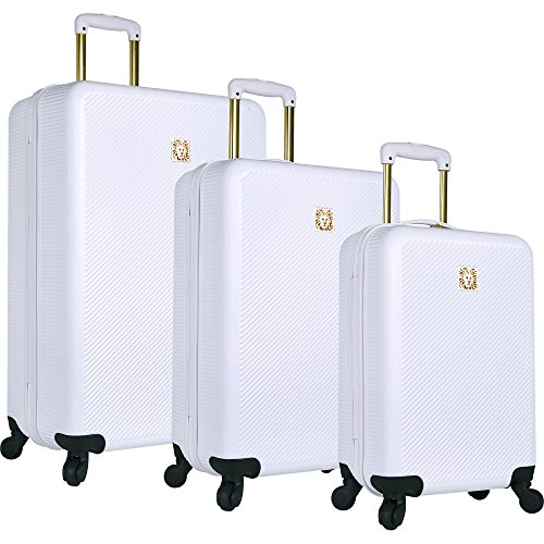 Price comparison product image Anne Klein Aurora 3 Piece Hardside Spinner Luggage Set, White