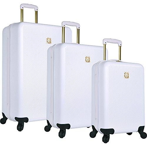 Price comparison product image Anne Klein Aurora 3 Piece Hardside Spinner Luggage Set, White