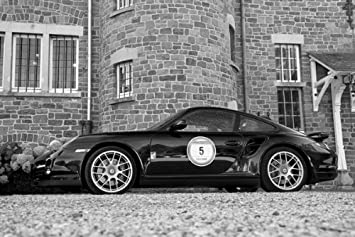 Porsche 911 997 Turbo S Left Side Black and White HD Poster Super Car 18 X