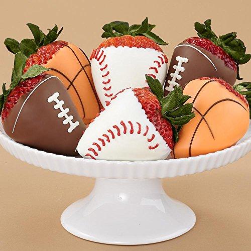 Shari's Berries - Half Dozen Hand-Dipped Sports Strawberries - 6 Count - Gourmet Fruit Gifts - 6 Hand Dipped Berries