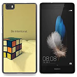 "Qstar Arte & diseño plástico duro Fundas Cover Cubre Hard Case Cover para Huawei Ascend P8 Lite (Not for Normal P8) (Intencional Game Cube Matemáticas Puzzle"")"
