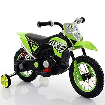 Babycar Moto eléctrica para niños Moto Verde Cross Juguete eléctrica para niños con Ruedas de Goma: Amazon.es: Juguetes y juegos