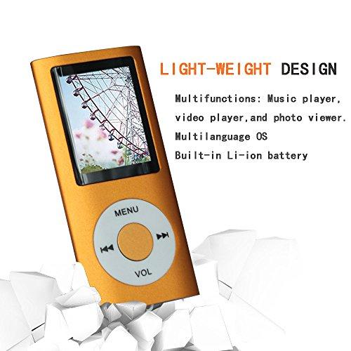Tomameri Orange Color Portable MP4 Player MP3 Player Video Player with Photo Viewer , E-Book Reader , Voice Recorder + 16 GB Micro SD Card