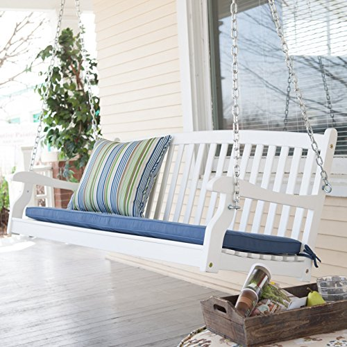 Outdoor Collection Traditional Country White Hardwood Slatted Patio Porch Swing 5 Foot
