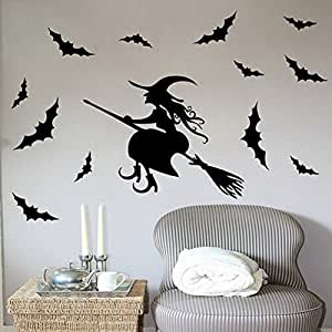 Granmet Happy Halloween Bat And Witch Wall Stickers Decoration Wall Art Sticker Decals(BLACK,1)