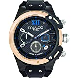Mulco Evol Lock Quartz Swiss Chronograph Movement Men's Watch | Premium Analog Steel Accents | Silicone Watch Band | Water Resistant Stainless Steel Watch (Black/Rosegold)