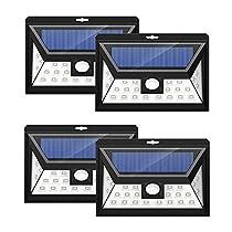 4 Unidades Mpow 24 LED Foco Solar con Sensor de Angulo Ancho