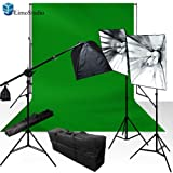 LimoStudio 1800 Watt Photo Studio Photography and Digital Video Continuous Lighting Kit with Green Chromakey 10 x 10 Photo Backdrop Background - 3 Light Stands, 3 Softboxes, 3 Light Heads, AGG1177