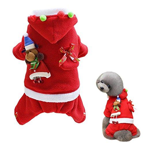 Alroman Dogs Christmas Costumes Santa Claus Clothes Pet Santa Claus Suit Pet Red Clothing Doggie Winter Apparel Cold Weather Coats Cat Xmas Shirts New (S (2.7~4.4lbs), Santa Claus-2)