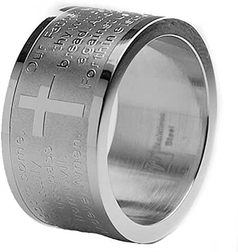 12MM Lord's Prayer Stainless Steel Ring Sizes 6 to 12