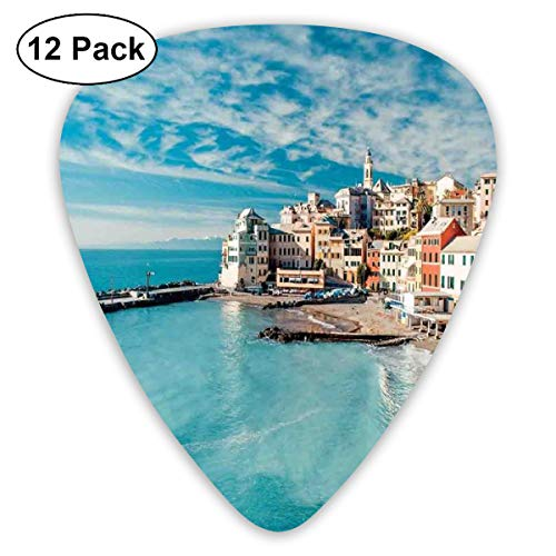 Guitar Picks - Abstract Art Colorful Designs,Panorama Of Old Italian Fish Village Beach Old Province Coastal Charm Image,Unique Guitar Gift,For Bass Electric & Acoustic Guitars-12 Pack