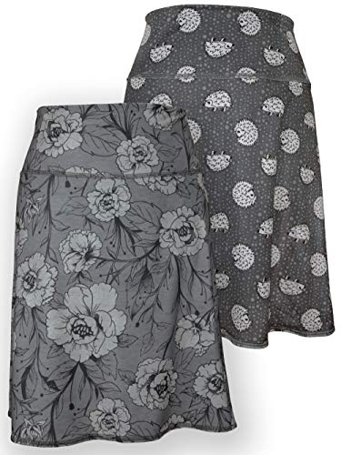 Green 3 Novelty Reversible Skirt - Womens Recycled Skirt, Made in The USA (Hedgehog & Roses, XLarge)