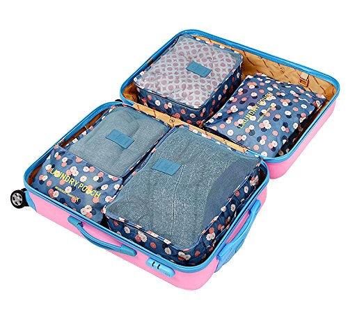 Clothes Travel Luggage Organizer Pouch (Light Blue) Set of 6 - 9