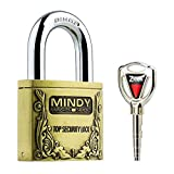 Mindy Anti-Theft Hard Steel Keyed Padlocks High Security Bronze Vintage Locks with Keys A4-50 by Mindy