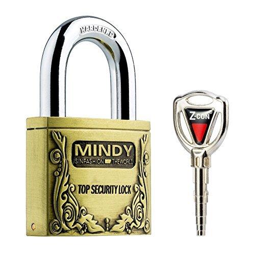 Mindy Anti-Theft Hard Steel Keyed Padlocks High Security Bronze Vintage Locks with Keys A4-50 by Mindy