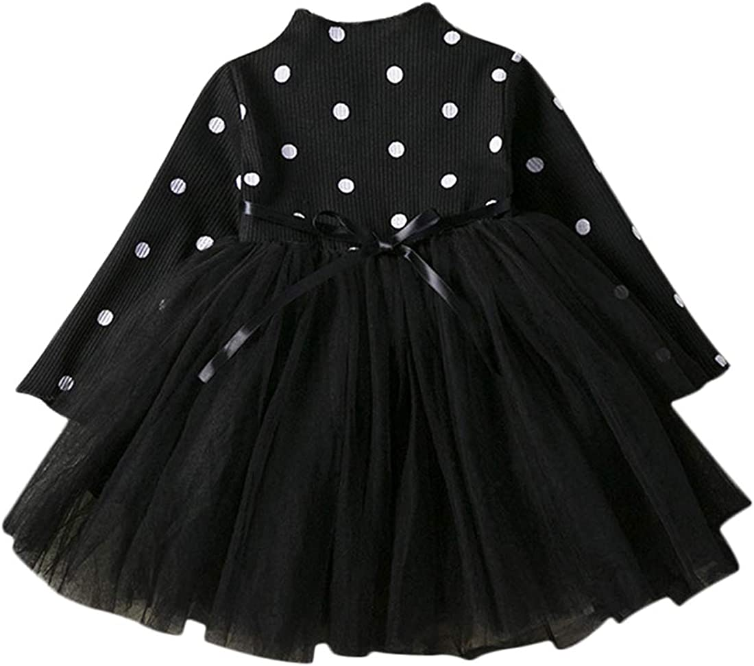 DEBAIJIA Baby Girls Dress 1-3Y Lace Stitching Tutu Princess Dresses Kids Infant Party Tulle Skirt Waist Strap Toddler Long Sleeve Wave Point Knitted Cotton