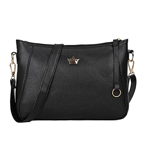 Widewing Vintage Small Women Crossbody Purse PU Leather Shoulder Messenger Handbags Black,