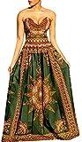 SYTX Womens Casual Wrap Chest Africa Print Big Hem Dashiki Maxi Dress 1 XS