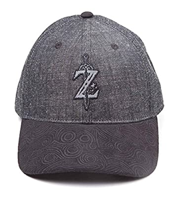 Zelda Baseball Cap Breath of The Wild Z Logo Official Grey Curved Bill Snapback by Nintendo Merch