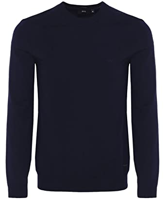 00e9bdf66 BOSS Hugo Boss Crew Neck Bagritte-B Jumper L Dark Blue: Amazon.co.uk:  Clothing