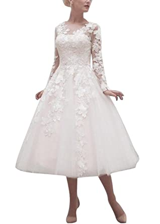 APXPF Womens Tea Length Lace Long Sleeves Wedding Prom Dress With Zipper Button Back: Amazon.co.uk: Clothing