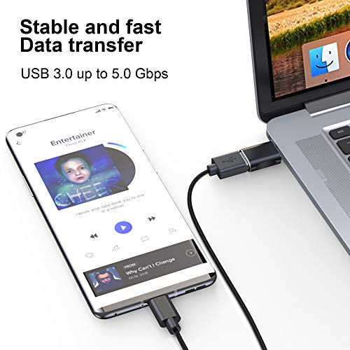 Type-C to USB Adapter, USB C to USB 3.0 Adapter, Aluminum Alloy Type C Adapter, Thunderbolt 3 Adapter has a Transmission Speed of up to 5g, Compatible with Various Type C Devices (Gray)