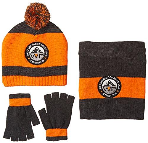 Weatherproof Big Boys' 3 Piece Set Beanie Fingerless Gloves and Neck Warmer, Dark Grey, One Size